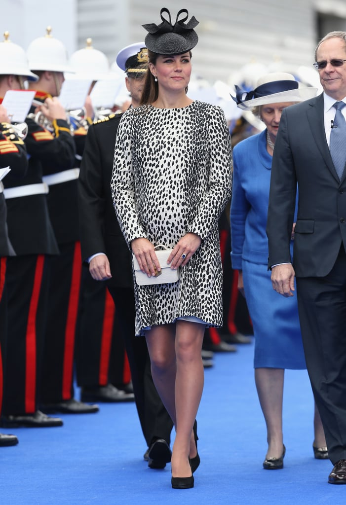 Kate Middleton made her final solo pregnant appearance in Southampton, England, in June 2013 when she christened a Princess Cruises ship.