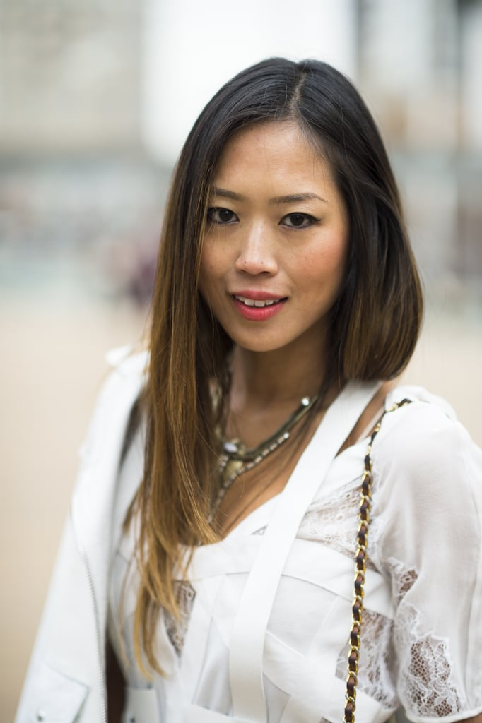 Aimee Song's Winter-white ensemble and sleek strands got an instant shot of life with a swipe of pink lipstick. Source: Le 21ème | Adam Katz Sinding