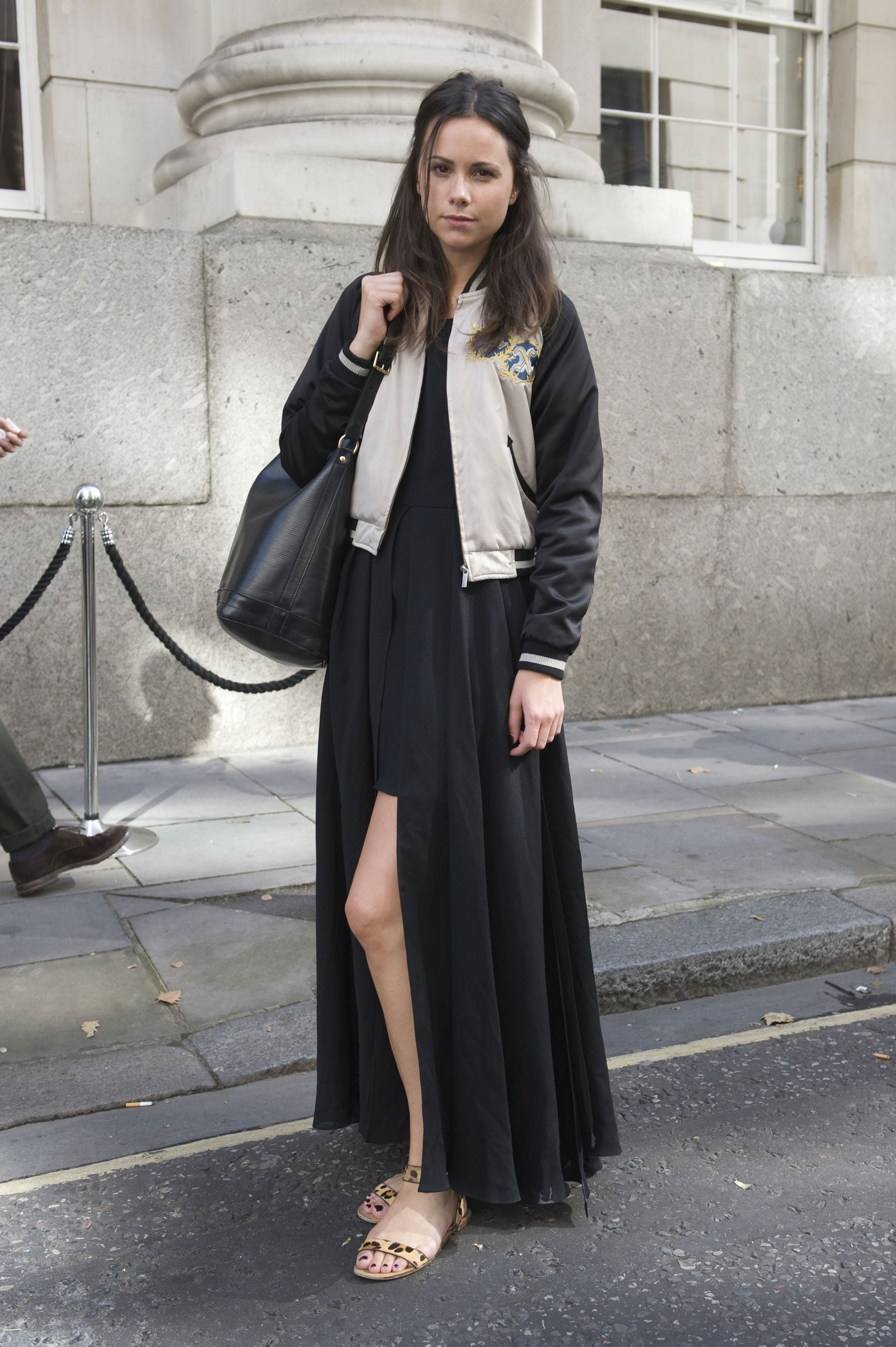 The varsity jacket gave a maxi dress sporty-chic appeal.
