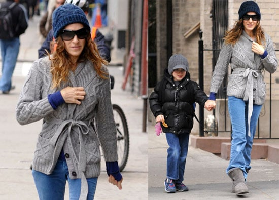 Pictures of Sarah Jessica Parker and James Wilkie Walking to School in New York City