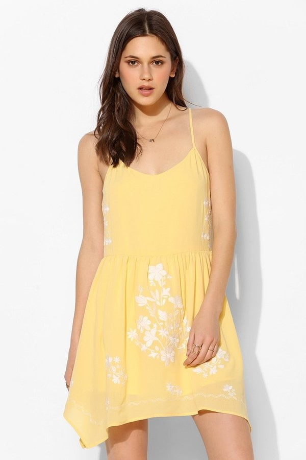 Lucca Couture Yellow Dress With White Floral Embroidery