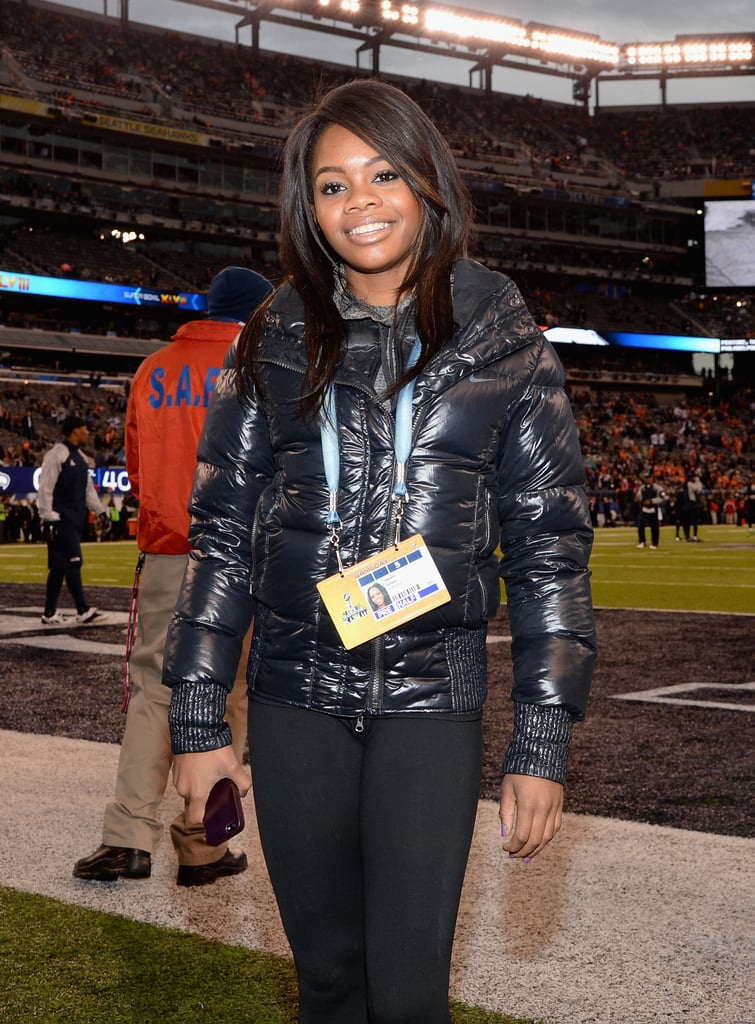 Gabby Douglas was one of the guests on the field at the Super Bowl.
