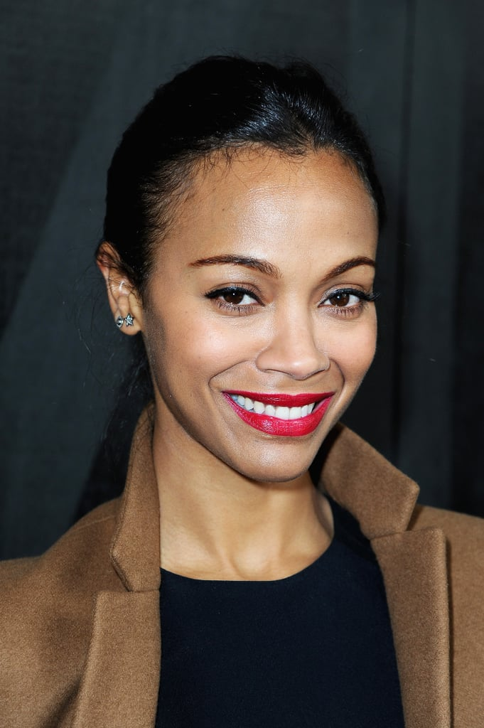 Black liner and red lips like those spotted on Zoe Saldana never go out of style. The look feels put together but doesn't require much time or skill.