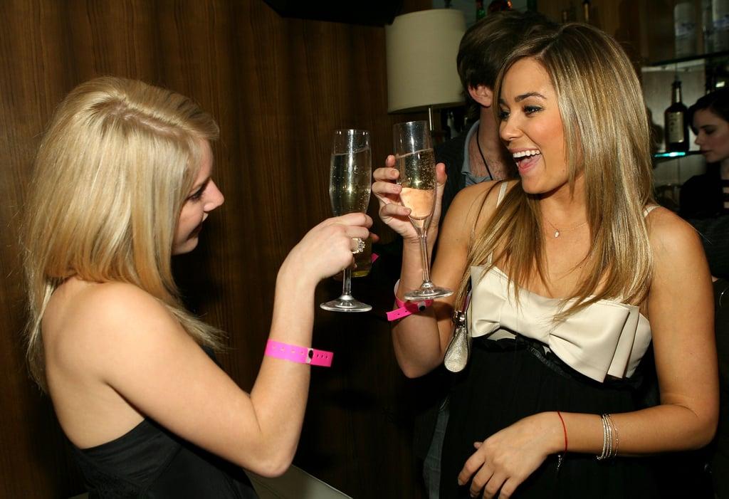 Lauren Conrad and Heidi Montag celebrated Lauren's 21st birthday in LA in February 2007.