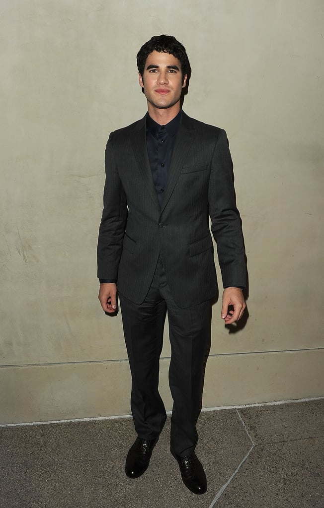 Darren Criss wore a suit to a dinner thrown by Armani and Vanity Fair.