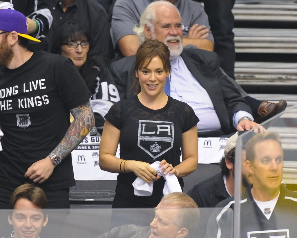 Alyssa Milano cheered for the LA Kings at the Stanley Cup finals game in LA.