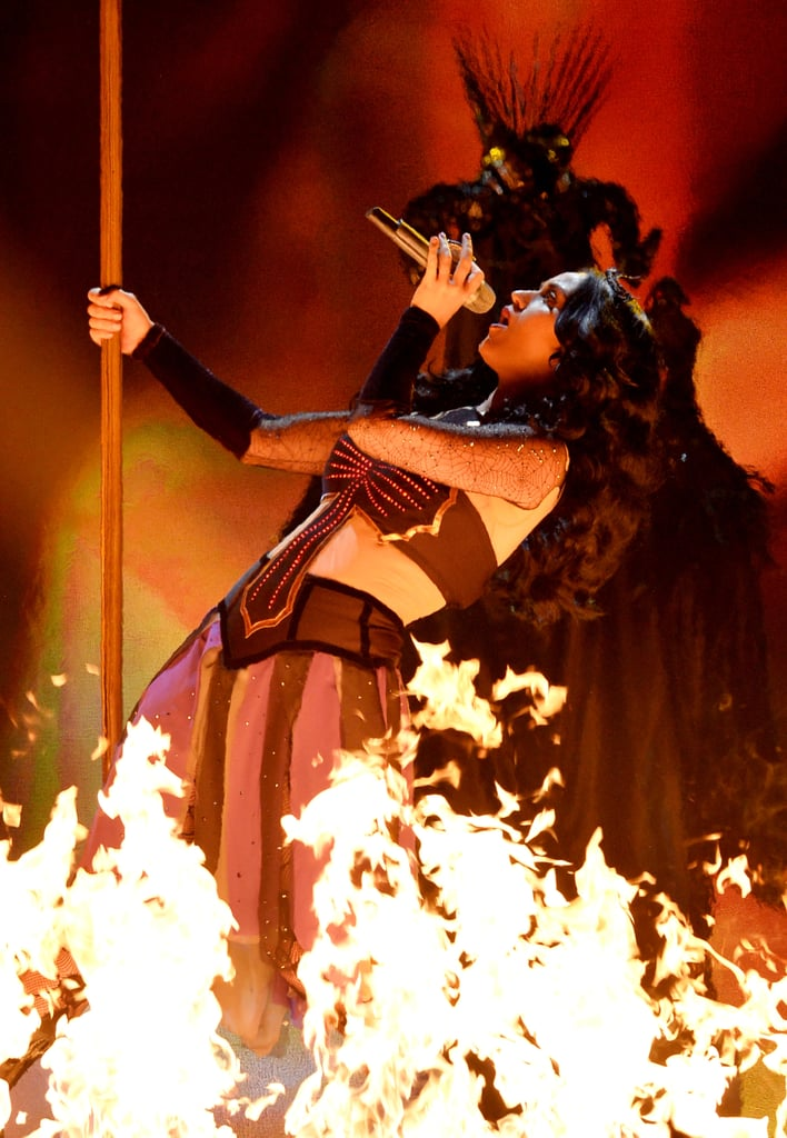 Katy Perry was on fire at the Grammys.