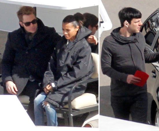 Chris Pine Joins Zoe Saldana and Zachary Quinto on the Set of Star Trek