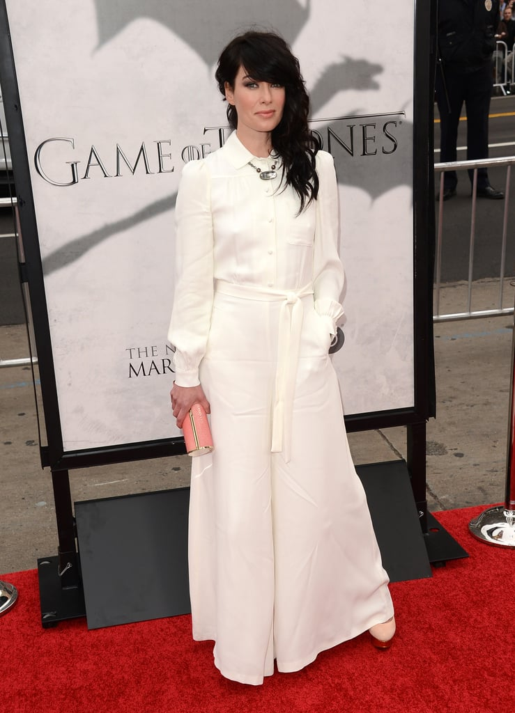 Lena Headey went for a white look.