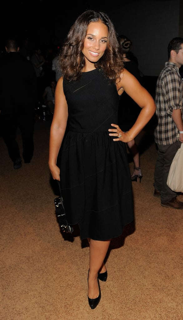Alicia Keys wore a chic black dress to the Proenza Schouler fashion show.