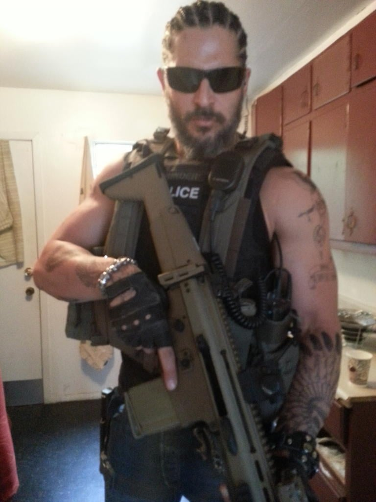 Joe Manganiello took on a whole new look for his latest action movie role. Source: Twitter user joemanganiello