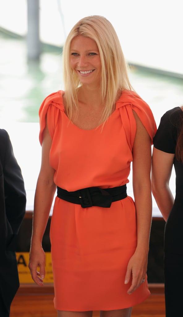Gwyneth Paltrow in orange Prada.