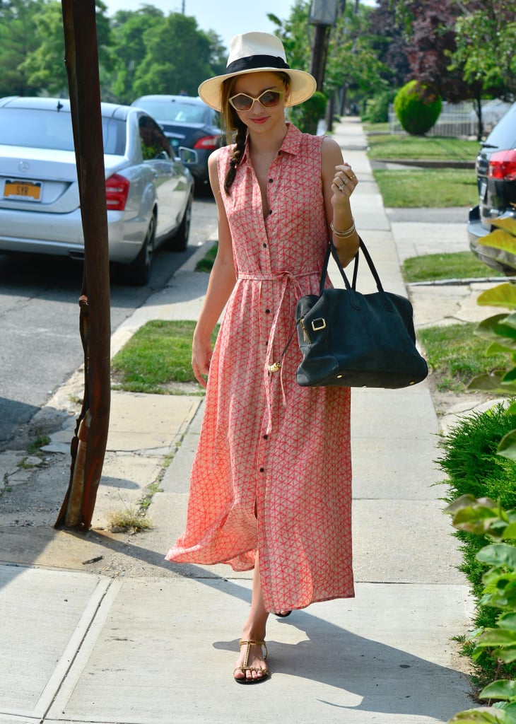 Miranda Kerr blurs the line between feminine and sexy so effortlessly, as demonstrated here in a flowing maxi dress.