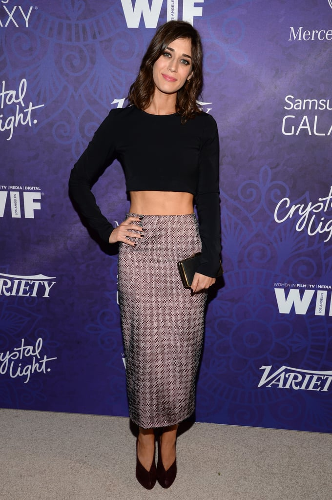 Lizzy Caplan showed her midriff on Saturday.