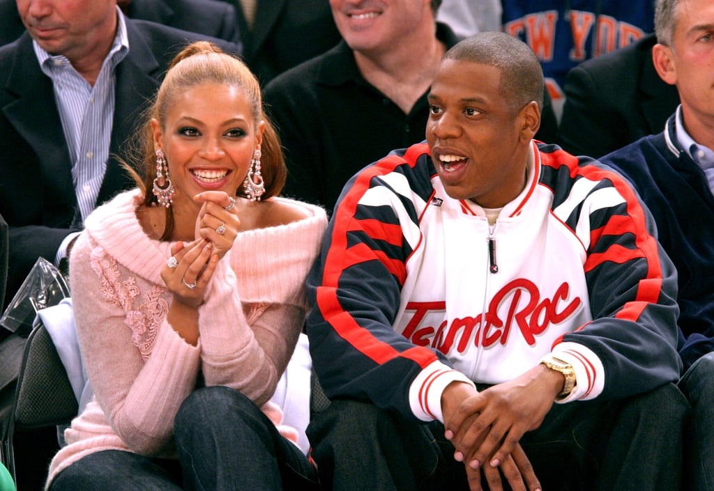 Basketball fans Jay-Z and Beyoncé watched the Houston Rockets take on the New York Knicks at Madison Square Garden in January 2004.