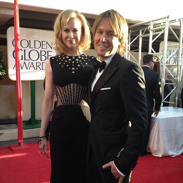 Nicole Kidman and Keith Urban hit the red carpet together in black ensembles. Source: Instagram user goldenglobes