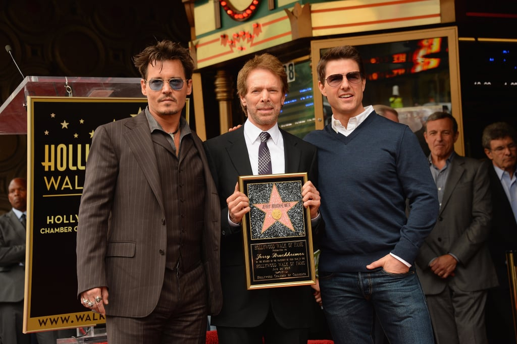 Jerry Bruckheimer held up his star from the Hollywood Walk of Fame with Johnny Depp and Tom Cruise on Monday.