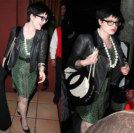 Kelly Osbourne Leaves Elton John's Birthday in Green Leopard Dress and Leather Jacket