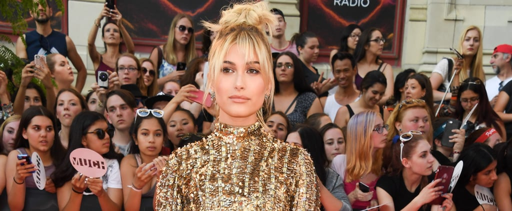 Forget the LBD and Check Out Hailey Baldwin's Gold Metallic Mini