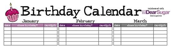 Sugar Shout Out: Stay Organized with Dear's Birthday Calendar!