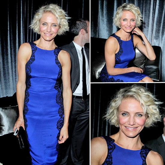 Cameron Diaz Wears Bright Blue Monique Lhuillier at the Weinstein Golden Globes After Party