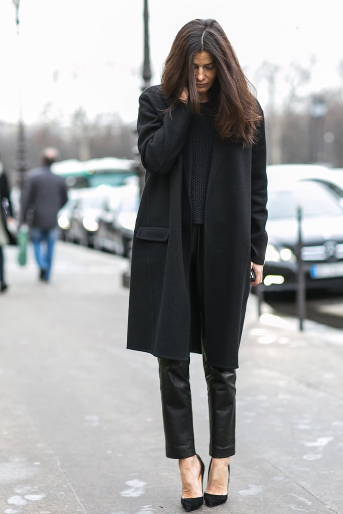 Fight all-black boredom with leather pants.