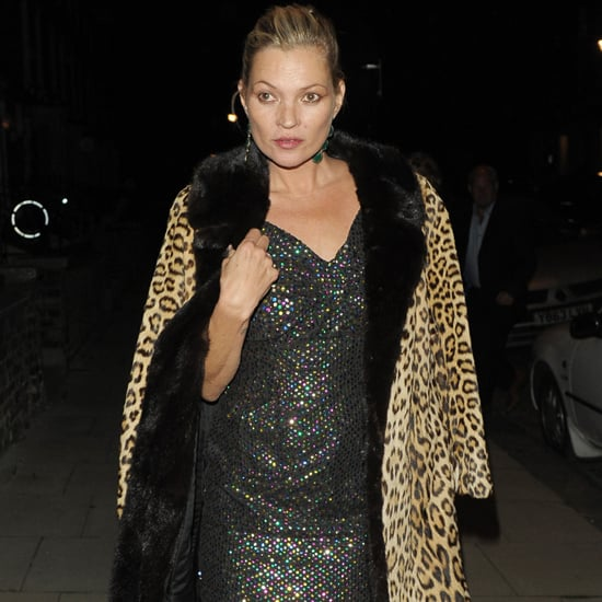 Kate Moss Wearing a Dress and Leopard Coat