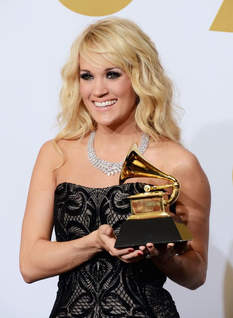 Carrie Underwood held up her Grammy.