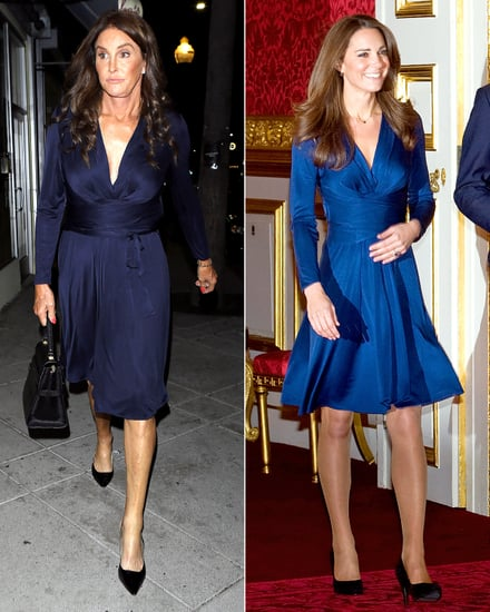 Caitlyn Jenner Wears Same Blue Wrap Dress as Kate Middleton: Who Wore It Best?