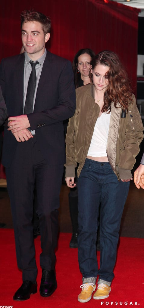 Kristen Stewart wore jeans and a bomber jacket to the party.