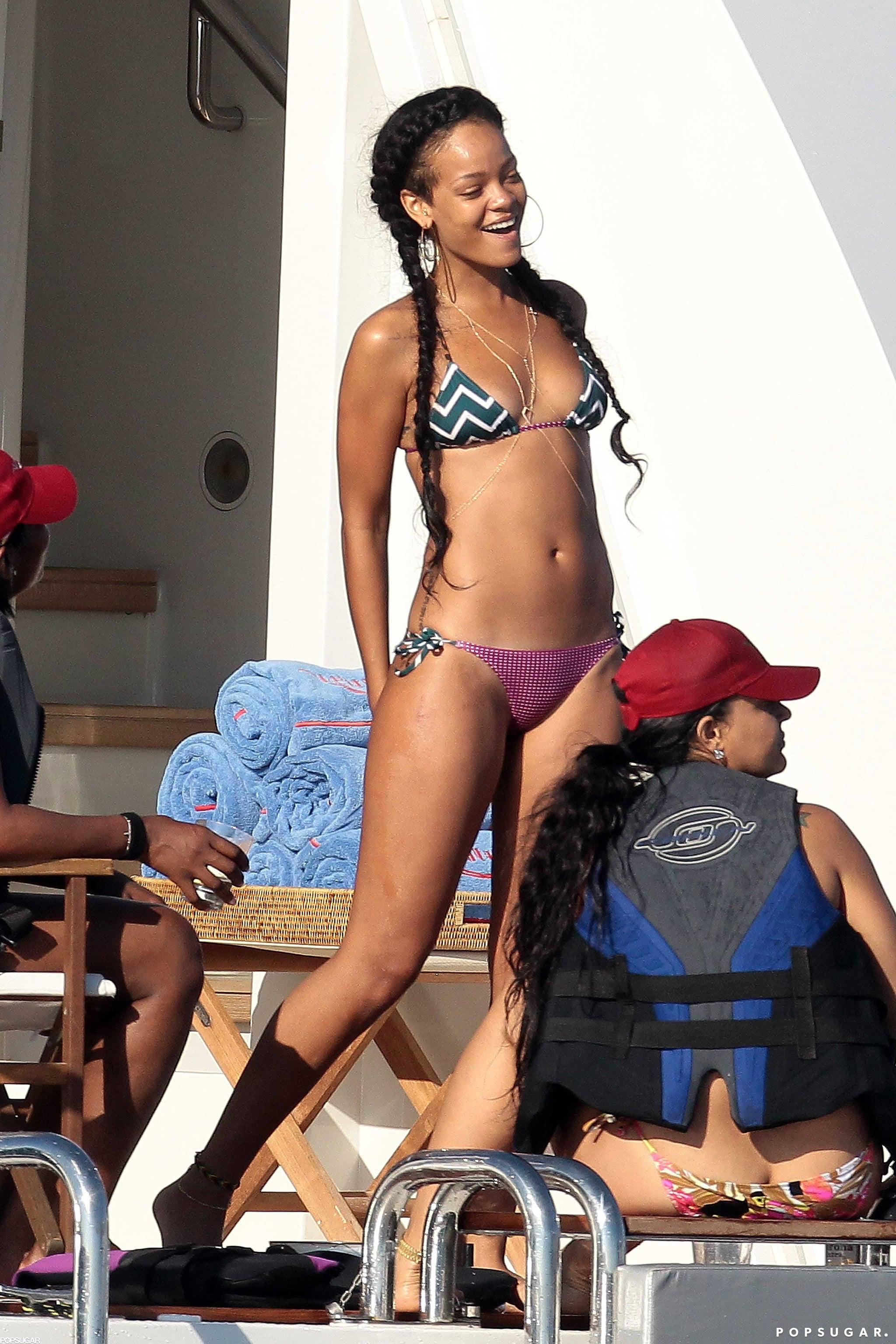 Rihanna partied on a boat in Saint-Tropez in a patterned bikini in July 2012.