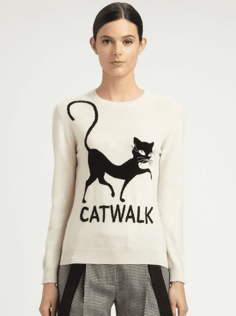 A different kind of catwalk — we're totally into this punny Moschino Cheap & Chic Cashmere Sweater ($695).