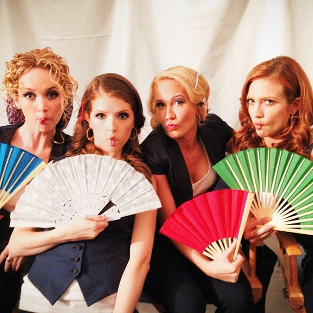 Kelley Jackle, Anna Kendrick, Anna Camp, and Brittany Snow made fish faces on the Pitch Perfect 2 set. Source: Instagram user annakendrick47