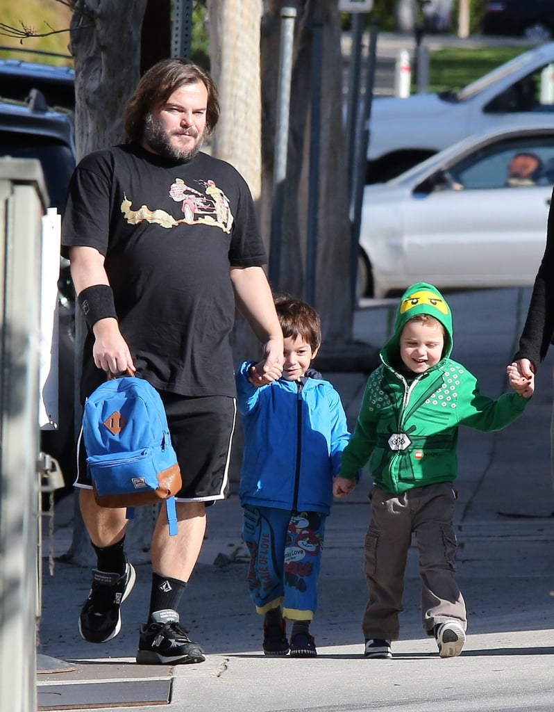 Jack Black ran errands with his sons, Samuel and Thomas, in February in LA.
