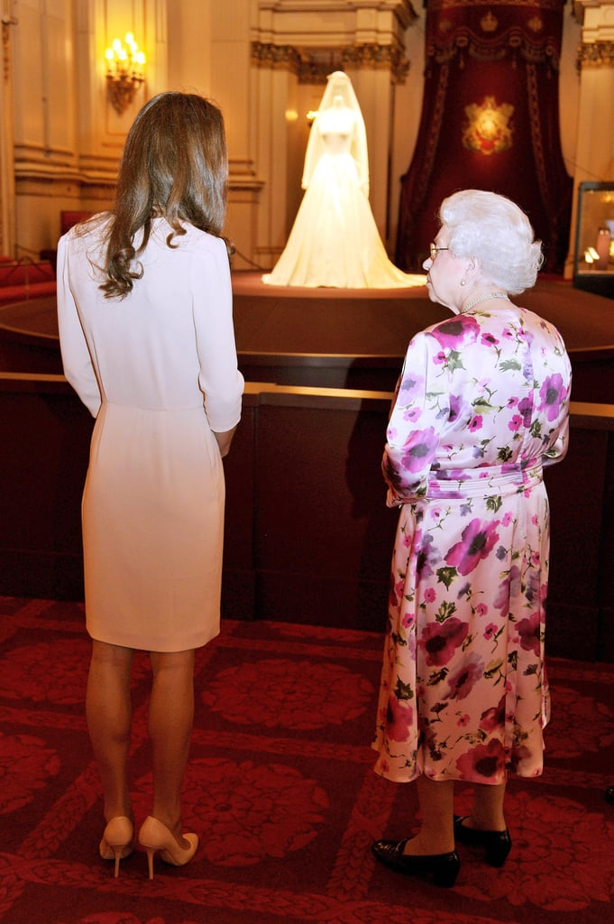 Kate Middleton and Queen Elizabeth view Kate's wedding gown.