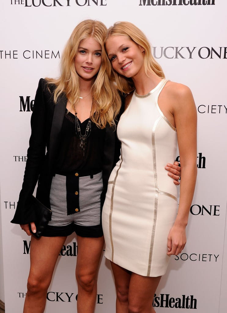 Models Doutzen Kroes and Erin Heatherton attended the Cinema Society and Men's Health screening of The Lucky One in NYC.