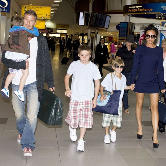 The whole Beckham family looked ready for a vacation, catching a departing flight out of London Heathrow Airport in July 2009.