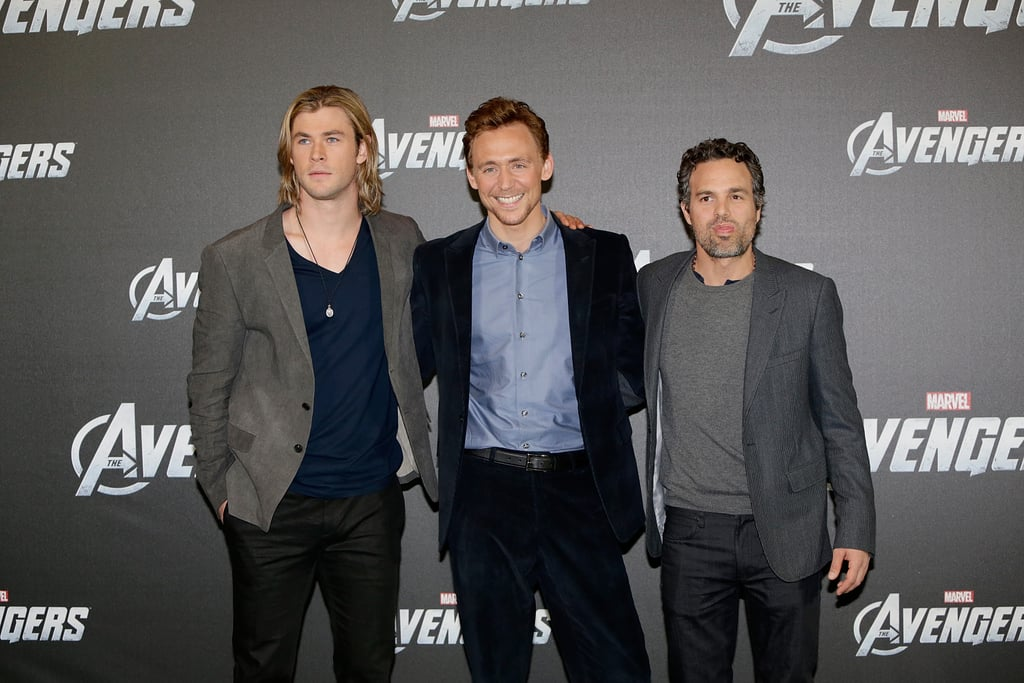 Mark Ruffalo, Chris Hemsworth, and Tom Hiddleston posed for photos.