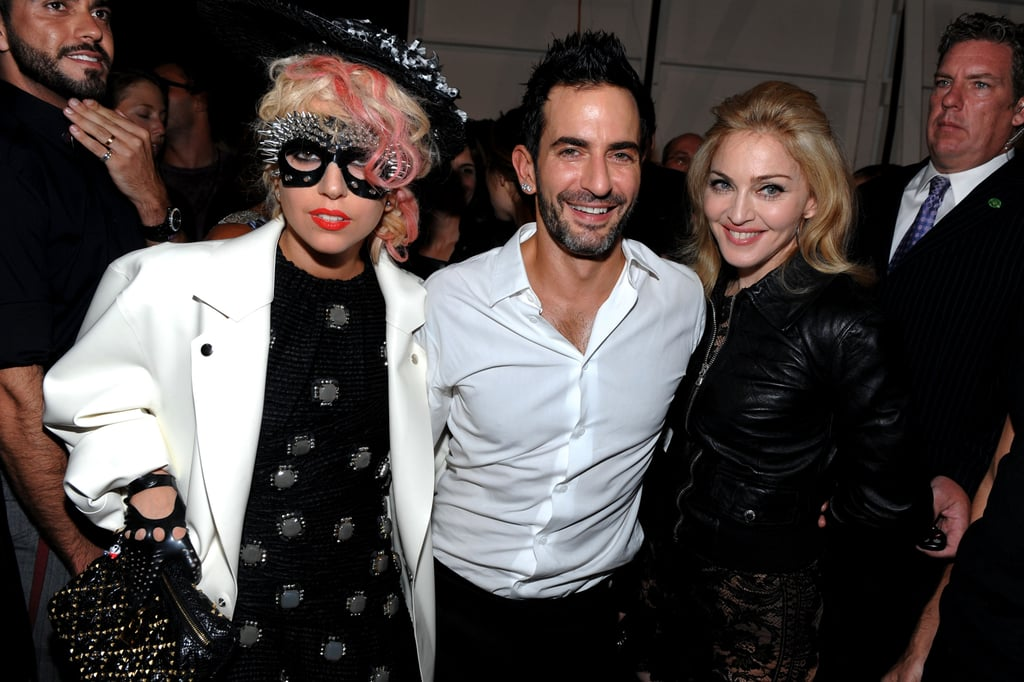 Lady Gaga, Marc Jacobs, and Madonna hung out behind the curtain in September 2009.