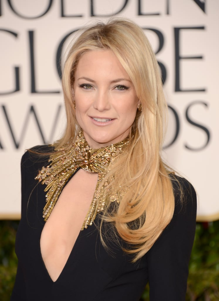 Kate stunned at this year's Golden Globes with a plunging embellished neckline. To balance her look, she kept her hair and makeup simple with a smooth blowout and a subtle cat eye.