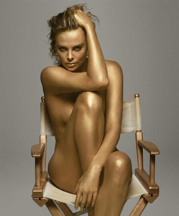 Charlize went for the gold while posing nude for Dior's J'adore fragrance in September 2011.