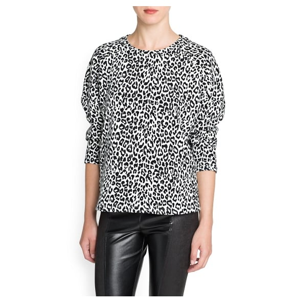 The pattern plus the rounded shoulders make this Mango leopard-print sweater ($50) a favorite in the knit department.
