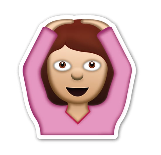 """Interpretation: """"I don't get it!""""  Name + meaning: Face With OK Gesture. A person with arms above her head, making an 'OK' sign (circle) with the whole body. Also looks a bit like a ballerina, or putting hands on head. Also known as: Ballerina emoji; hands on head emoji"""