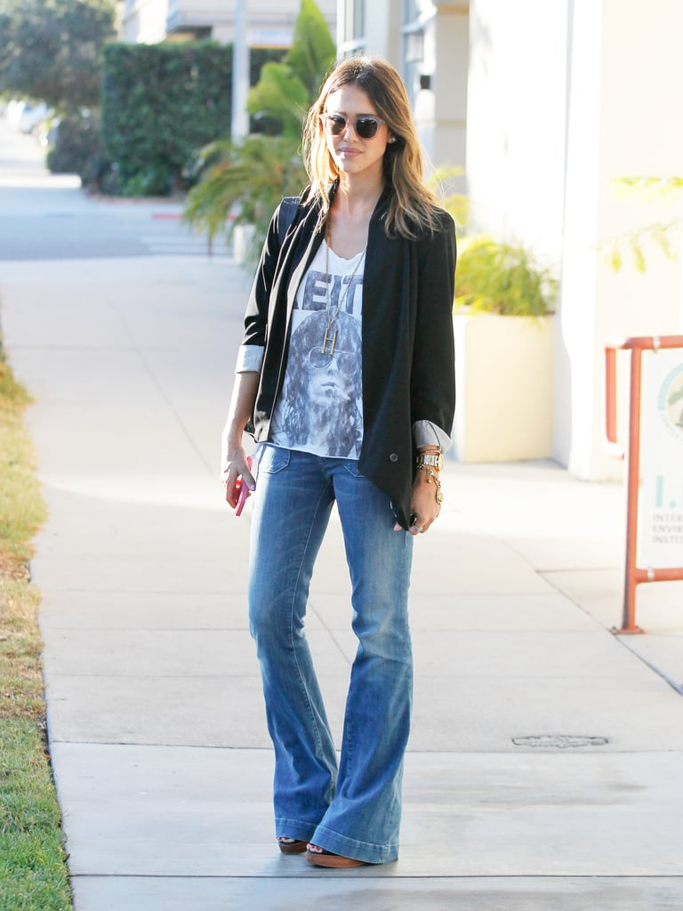 Jessica gave her flares a bit of a rock-star vibe with a graphic tee and some shades.