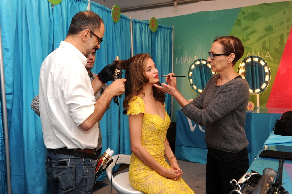 Miranda Kerr got her hair and makeup done at the Gillette Venus Goddess experience in NYC.