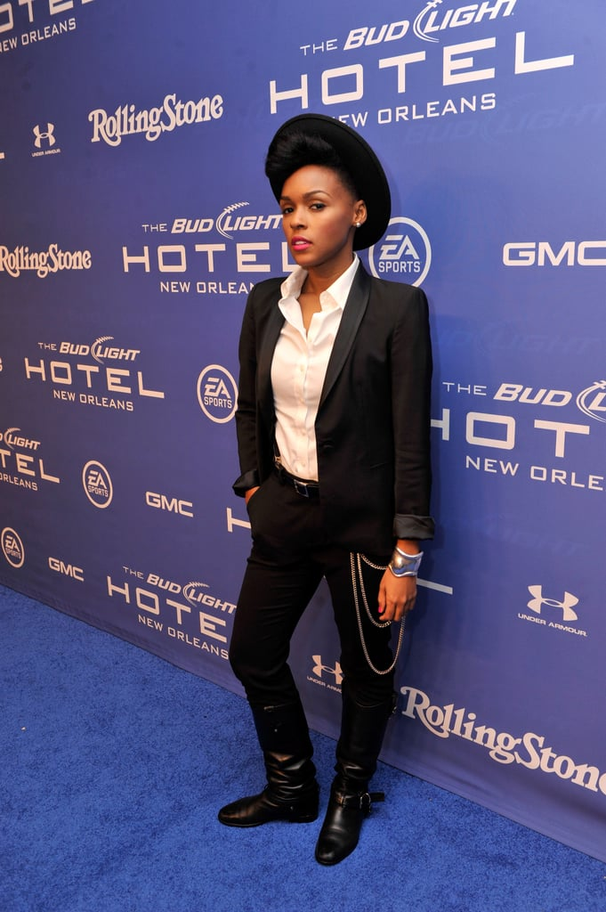 Janelle Monae stuck to her signature mix of menswear-inspired black and white pieces at the Bud Light Hotel Good Times party.
