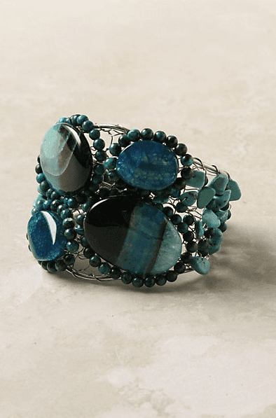 Beautiful blue stones for the bohemian beauty.  Anthropologie Islet Cuff ($68)