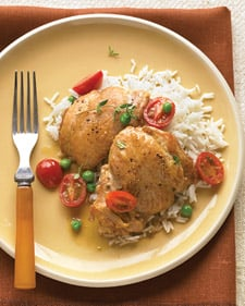 Fast & Easy Everyday Food Recipe For Braised Chicken With White Wine, Tomatoes, and Peas