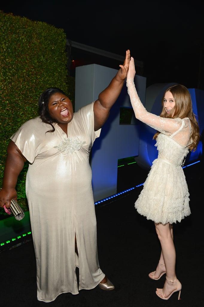 Gabourey Sidibe and Taissa Farmiga high-fived.