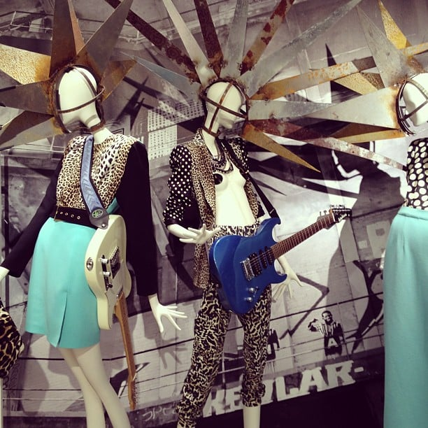 The LUISAVIAROMA boutique embraced the punk theme of the session with intense metal headpieces for the mannequins.